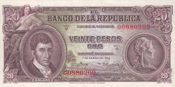 Imaginea #1 a 20 Pesos Oro 1953 (1. I.)