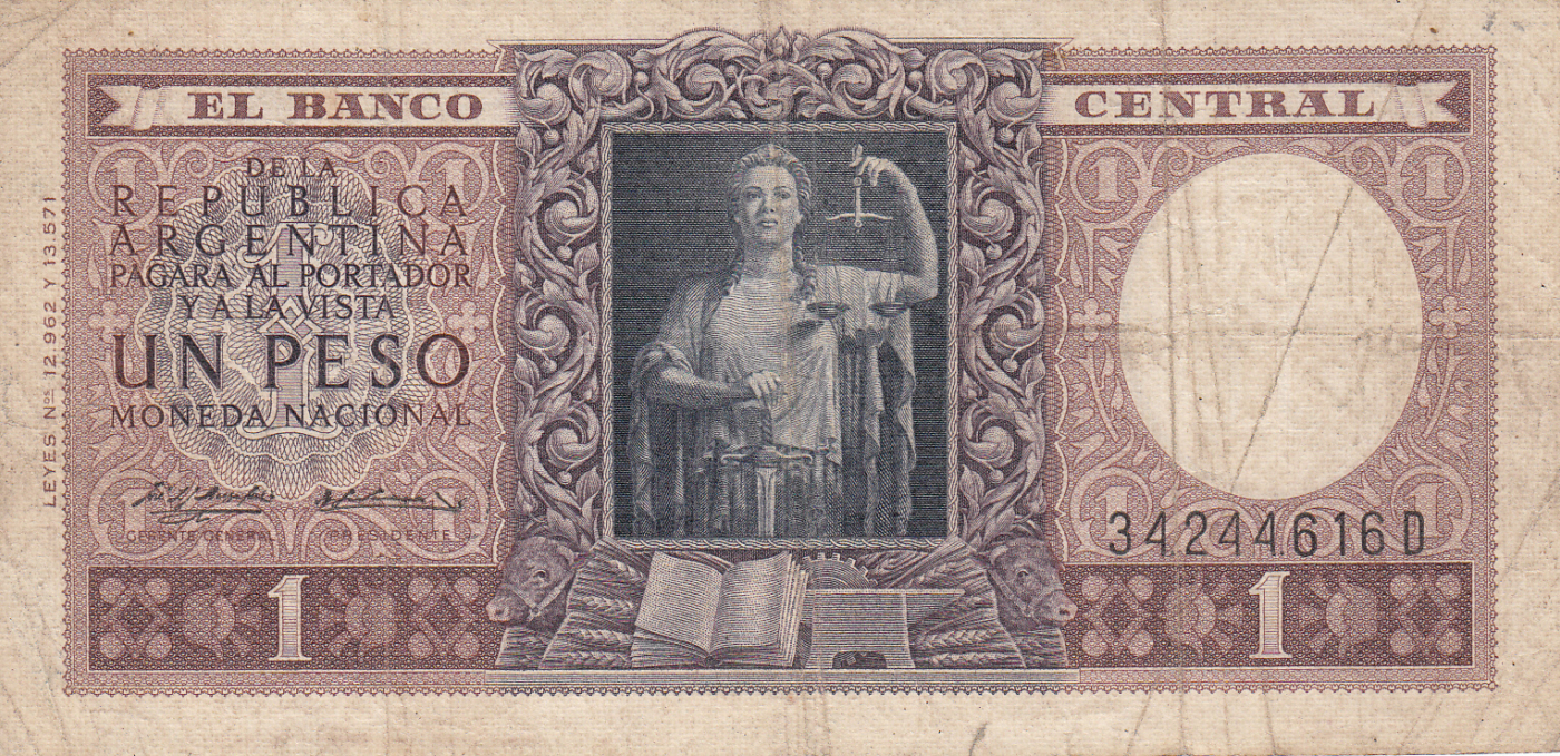 SERIES D UNC 1956 N ARGENTINA 1 PESO D. P263b