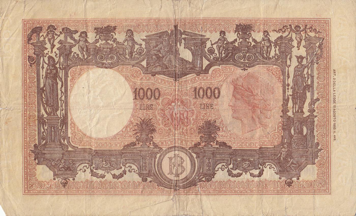 1000 Lire 1943 11 Viii 1943 1947 Issue Banca Ditalia 1000