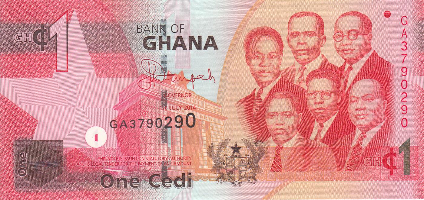 Ghana 1 Cedi x 5 Pcs 2015 P-37f New Unc