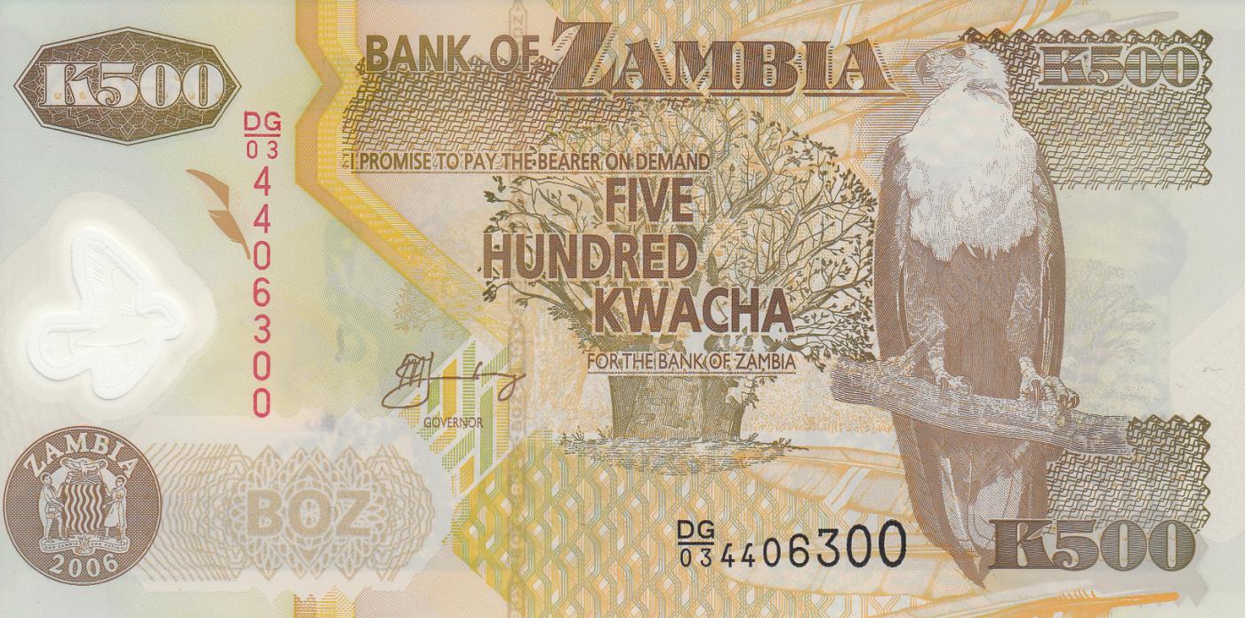 POLYMER 2011 P-43h LOT Zambia UNC 5 x 500 Kwacha