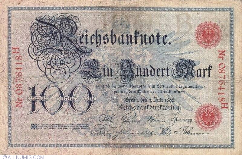 UNCIRCULATED 1908 Germany German Empire Kaiser Huge 100 Mark Banknote RED SEAL