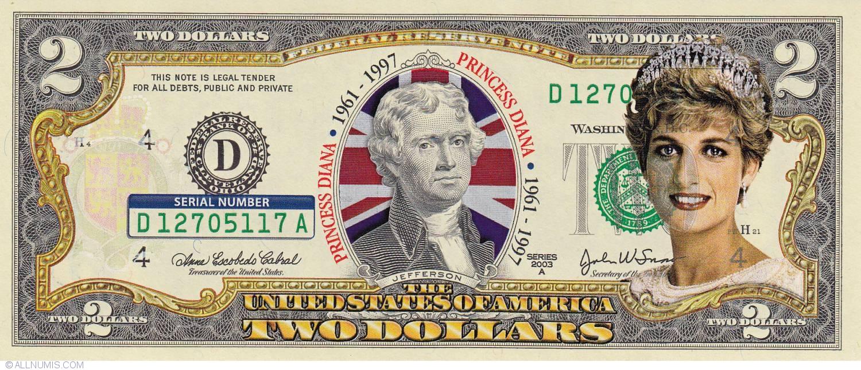 2 Dollars 2003 D Princess Diana 1961 1997 Colorized