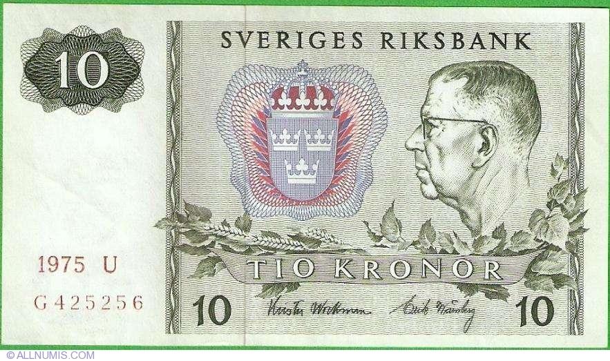 SWEDEN 10 KRONOR 1975 P 52 UNC