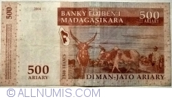 Image #2 of 500 Ariary = 2500 Francs 2004 (2014)