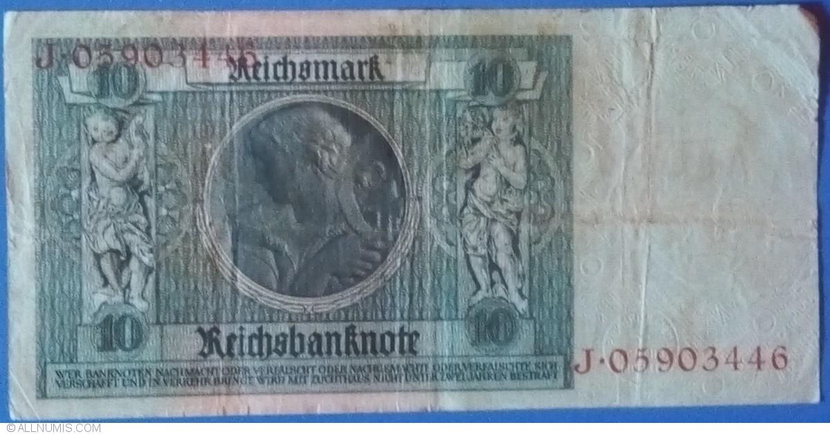 1929  NAZI Germany 10 Reichsmark Banknote