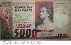Image #1 of 5000 Francs = 1000 Ariary ND (1974) (P#66)