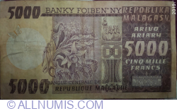 Image #2 of 5000 Francs = 1000 Ariary ND (1974) (P#66)