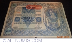 Image #1 of 1000 Kronen ND (1919 - old date 02. I. 1902) - Overprint: DEUTSCHOSTERREICH on Oesterreichisch-Ungarische Bank issue