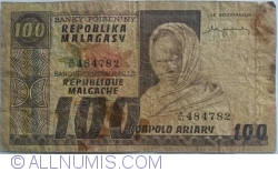 Image #1 of 100 Francs = 20 Ariary ND (1974)