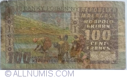 Image #2 of 100 Francs = 20 Ariary ND (1974)