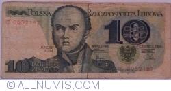 """Image #1 of 10 Zlotych 1982 (1. VI.) - handstamp """"WRONA ORŁA NIE POKONA"""""""