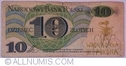 """Image #2 of 10 Zlotych 1982 (1. VI.) - handstamp """"WRONA ORŁA NIE POKONA"""""""