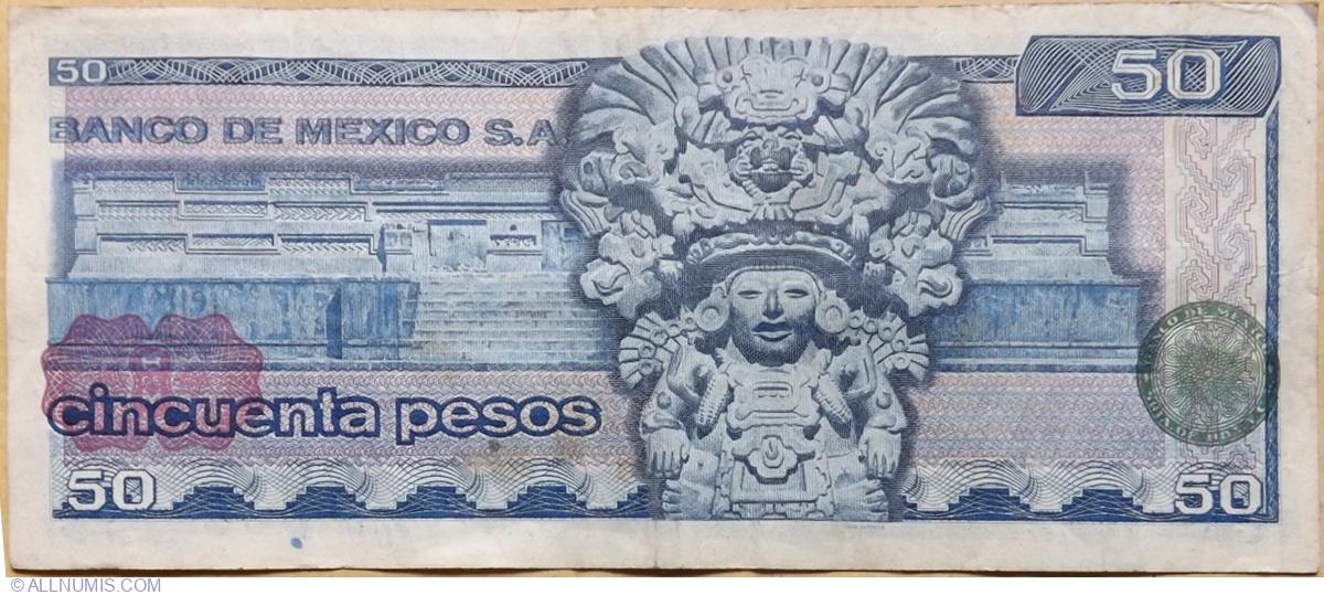 1978//79 CRISP UNCIRCULATED MEXICO 50 PESOS BANKNOTE