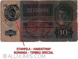 10 Coroane ND (1919) (Handstamp ROMANIA * TIMBRU SPECIAL on 10 Korona 1915 (2. I.) - Austria P#19)