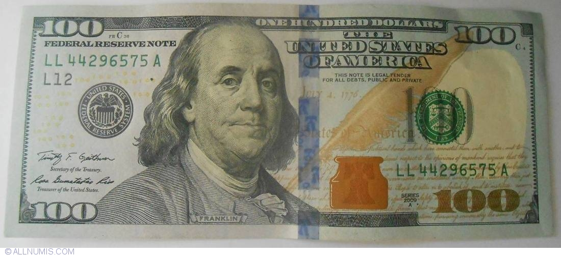 100 Dollars 2009a L12 2009 Issue 100 Dollars United