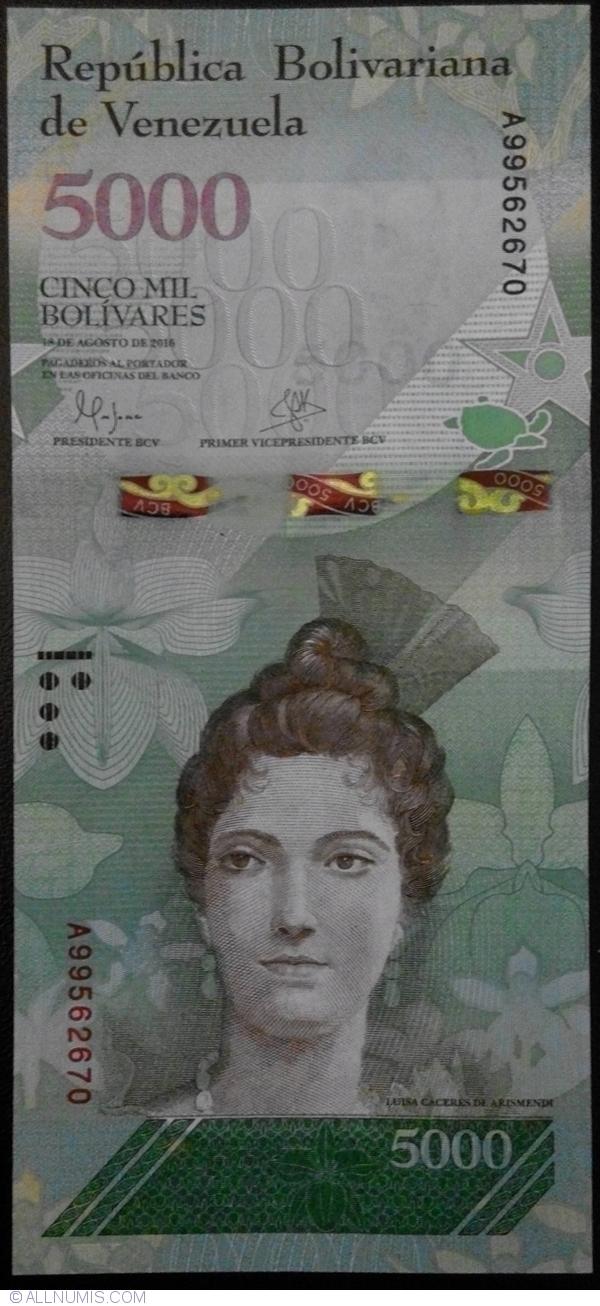 Venezuela 5000 5,000 2016 P-97s A8 Specimen Unc Bolivares