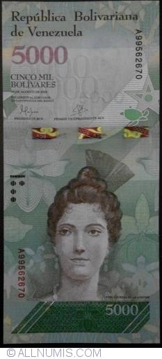 Imaginea #1 a 5000 Bolivares 2016 (18. VIII.)
