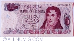 Image #1 of 10 Pesos ND (1970-1973) - signatures Rodolfo A. Mancini / Carlos S. Brignone
