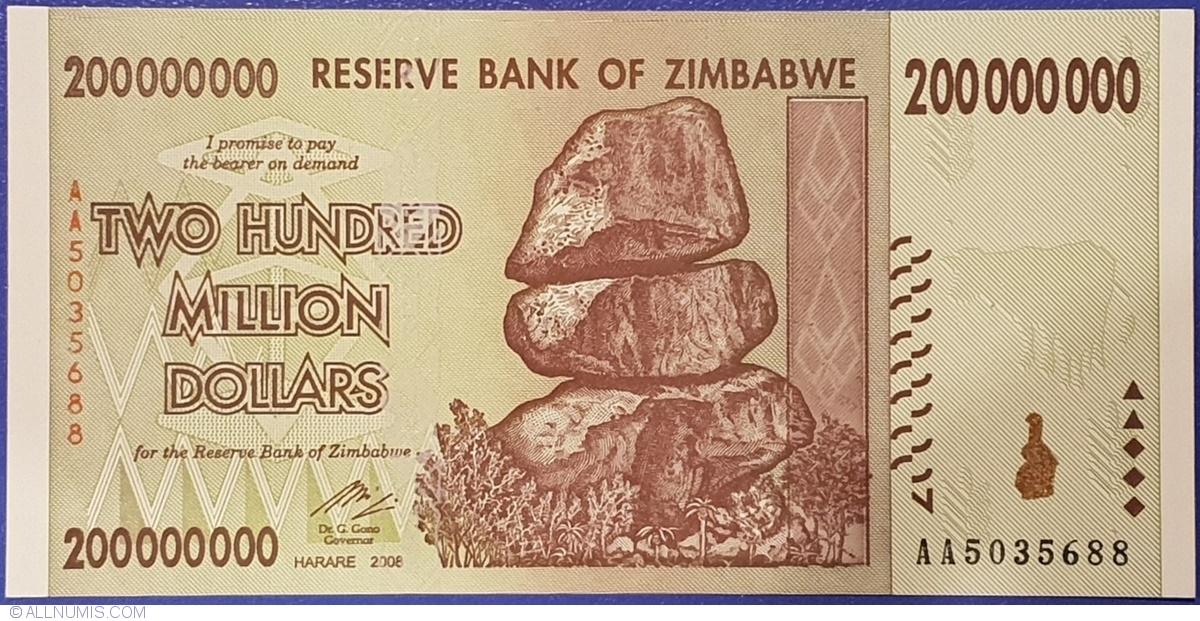 Zimbabwe 200000000-200 Million Dollars 2 PCS PAIR P-81,Prefix AA 2008 UNC