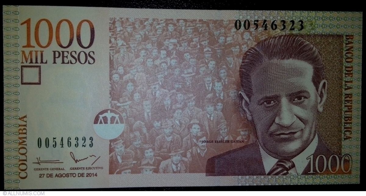 Colombia 3 Note Set: 1000 to 5000 Pesos p457u and p452o UNC - p456q 2013//2014