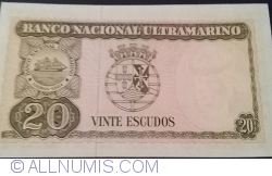 Imaginea #2 a 20 Escudos 1967 (24. X.) - semnături Camilo Afonso Máximo Cimourdain Ferreira de Oliveira / Francisco José Vieira Machado