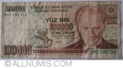 Image #1 of 100 000 Lira L. 1970 (1991) - signatures Dr. Rüşdü SARACOGLU / Kadir GÜNAY