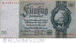 Image #1 of 50 Reichsmark 1933 (30. III.) - B (7 digit serial)