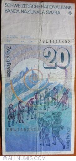 Image #2 of 20 Franken 1978 - signatures Dr. Edmund Wyss / Dr. Fritz Leutwiler (54)
