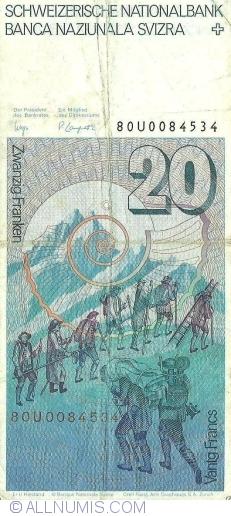 Image #2 of 20 Franken (19)80 - signatures Dr. Edmund Wyss / Dr. Pierre Languetin