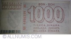 Imaginea #2 a 1000 Dinari 1992 (1. VIII.)