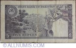 Imaginea #2 a 5 Rupees ND (1966) - semnătură Shujaat Ali Hasnie