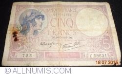 Image #1 of 5 Francs 1939 (20. VII.)