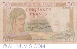 Image #1 of 50 Francs 1937 (13. V.)