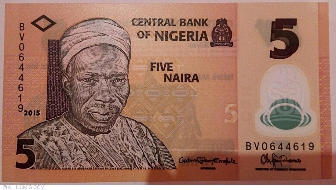 Nigeria 5 Naira p-38 2019 UNC Polymer Banknote