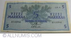 Imaginea #1 a 5 Markkaa 1963 - semnături Uusivirta/ Lukka