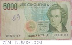 Image #1 of 5000 Lire 1985 (4. I.) - signatures Antonio Fazio / Antonio Amici