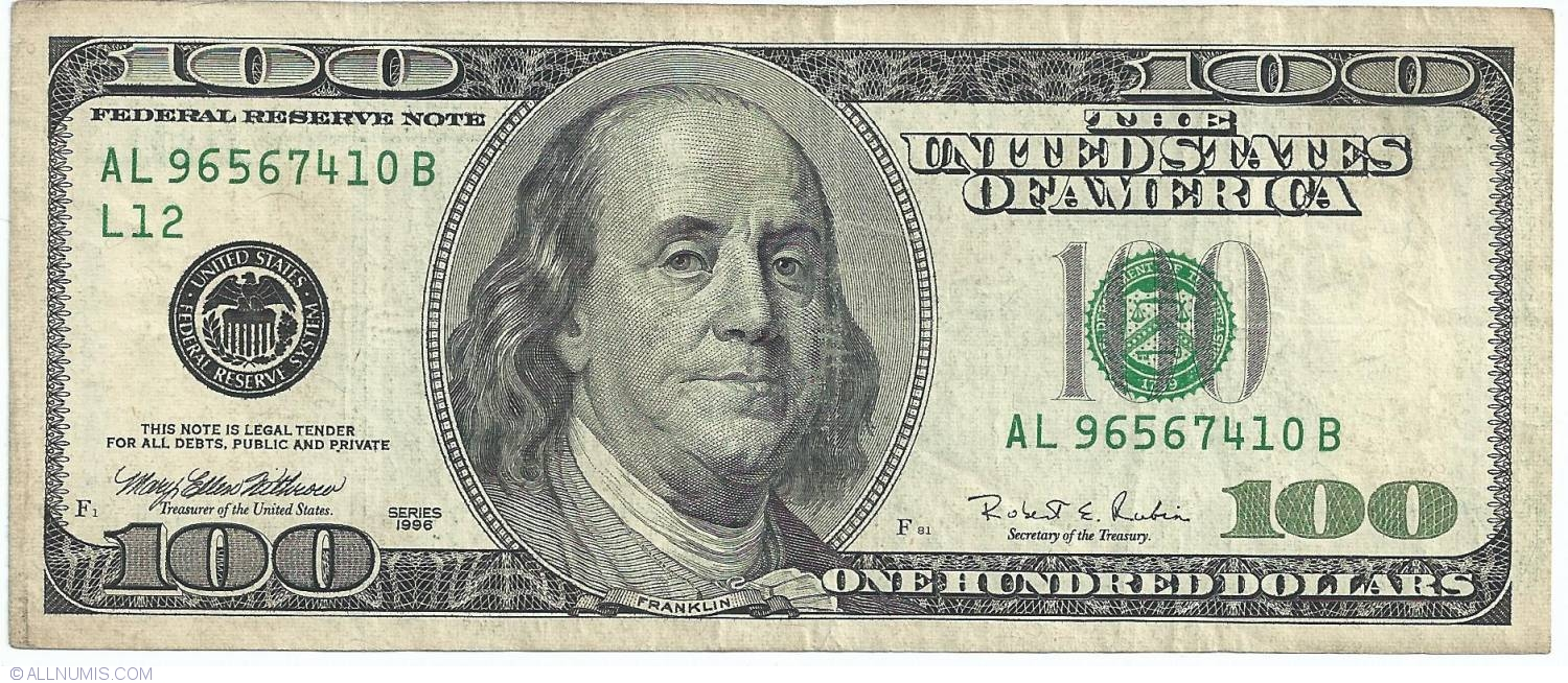100 Dollars 1996 L12 1996 Series United States Of