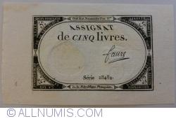 5 Livres 1793 (31. X. - 10 Brumaire l'an 2ème) - signature Faure