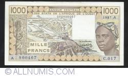 Image #1 of 1000  Francs  1987 A (Cote d'Ivoire (Ivory Coast))