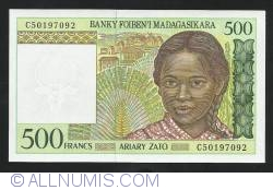 Image #1 of 500  Francs =100 Ariary ND (1994)