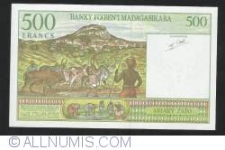 Image #2 of 500  Francs =100 Ariary ND (1994)