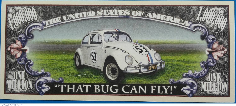 1 000 000 dollars 2001 herbie usa cars fantasy banknotes banknote 5804. Black Bedroom Furniture Sets. Home Design Ideas