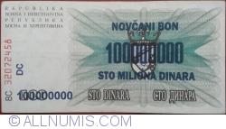 Imaginea #2 a 100 000 000 Dinari 1993 (10. XI.) (Supratipar pe emisiunea 100 Dinari 1992 (1. VII.) - P#13a)