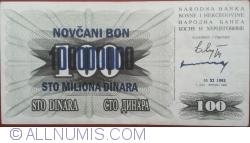 Imaginea #1 a 100 000 000 Dinari 1993 (10. XI.) (Supratipar pe emisiunea 100 Dinari 1992 (1. VII.) - P#13a)