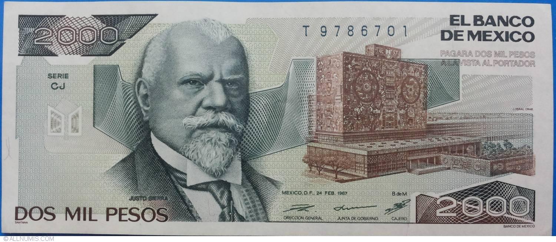 2000 Pesos 1987 24 Ii Serie Cj