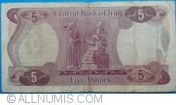 Image #2 of 5 Dinars ND(1973) - signature Dr. Fawzi al-Kaissi