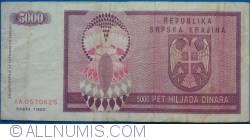 Imaginea #1 a 5000 Dinari 1992