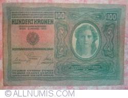 Image #1 of 100 Kronen ND (1919 - old date 02. I. 1902) - Overprint: DEUTSCHOSTERREICH on Oesterreichisch-Ungarische Bank issue