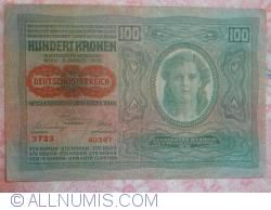 Image #2 of 100 Kronen ND (1919 - old date 02. I. 1902) - Overprint: DEUTSCHOSTERREICH on Oesterreichisch-Ungarische Bank issue